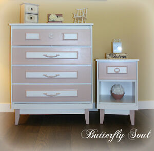 SOLID WOOD LITTLE GIRL'S DRESSER/NIGHTSTAND SET - CROSS POSTED