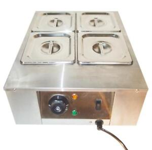 4 Pan Well Bain Marie Chocolate Tempering Melter Temperature Controls#141120
