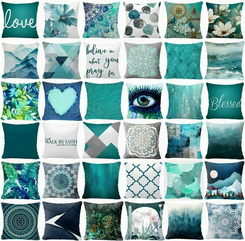 Cushion COVER Teal Blue White Double Sided Decorative Throw