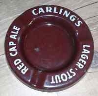 Vintage Carling's enamel ashtray