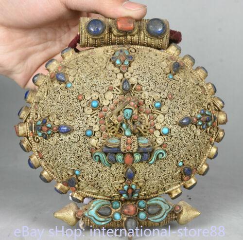 5.4 inch Old Tibetan Filigree Coral Temple Wenshu Manjushri Bodhisattva Gawu Box