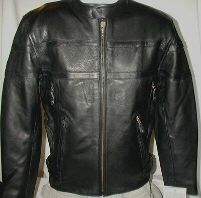 - Mens Milwaukee Vented Top Grain Naked Leather Motorcycle Jacket SM MED 2X 3X 5X