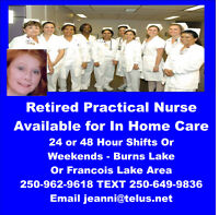 Retired Nurse For In Your Home Care 250-962-9618