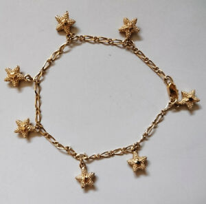 Gold Tone Bracelet with Star Charms