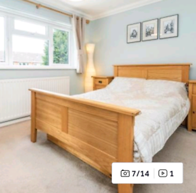 Solid wood double bed with matching underbed storage (just seen)
