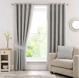 John Lewis & Partners Chenille Silver Grey Blackout Eyelet Curtains