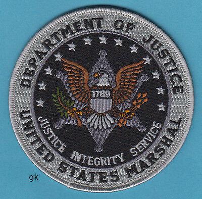 """US MARSHAL DEPT OF JUSTICE  SHOULDER PATCH POLICE  4""""  (Subdued -  Black / Gray)"""