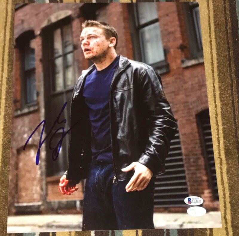 "LEONARDO DICAPRIO SIGNED AUTOGRAPH ""THE DEPARTED"" BLOODY 11X14 PHOTO JSA BECKETT"