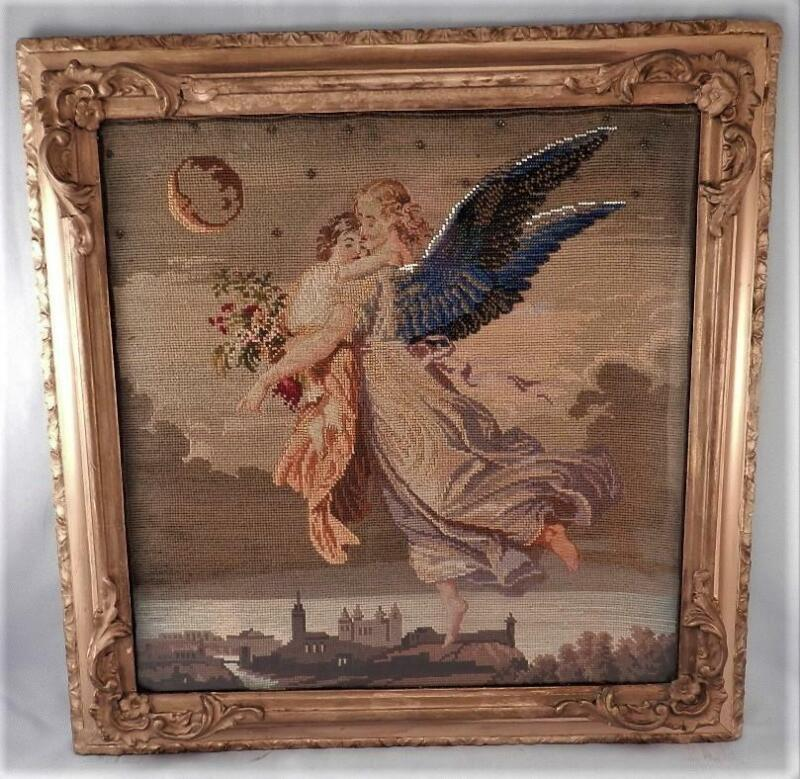 Antique 19C Petit Point Embroidery~Mourning Scene~Guardian~Death Angel & Child