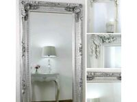 Large silver or white Ornate full length mirror !! New !!
