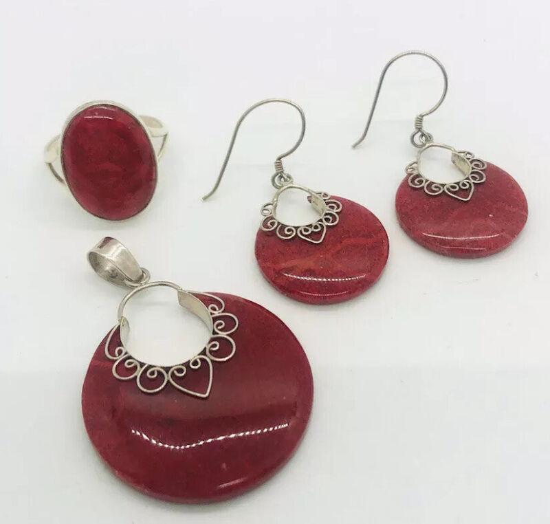 Vintage Sterling Silver Sponge Coral Pendant Ring & Dangle Dangle Earrings Set