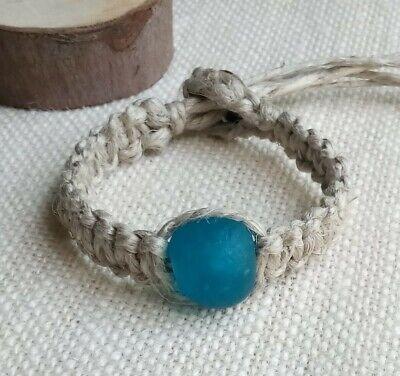Organic Hemp Bracelet Large Blue Handmade African Glass Bead 1/2