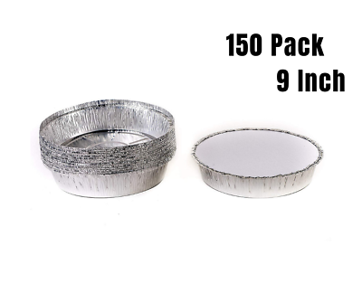 150 Pack 9 Inch Disposable Round Aluminum Foil Take-Out Pans