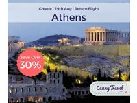 OVER 30% OFF THE CURRENT PRICE Cancellation! 1 Return Flight, flying from London to Athens - £211pp