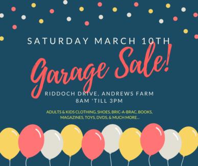 GARAGE SALE - SAT 10TH MARCH