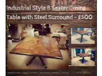8 Seater Square Industrial Dining Table