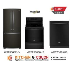 Black Stainless Steel Whirlpool Appliance Package | Appiance Deals (WRL406)
