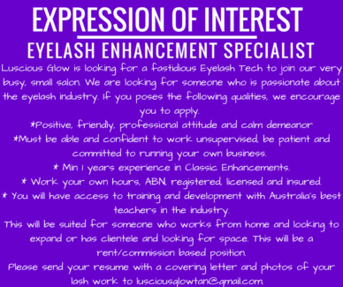 Room for rent for Eyelash Technician