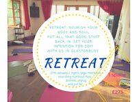 Detox and Nourish yoga retreat in Glastonbury 27th January