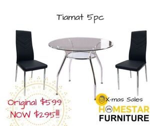 Tiamat 5pc Round Glass Dining Table Setting Orig $599 Now $295