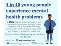 11-14-YEAR-OLD PARTICIPANTS NEEDED FOR A STUDY OF EARLY EXPERIENCE AND BRAIN DEVELOPMENT AT KCL