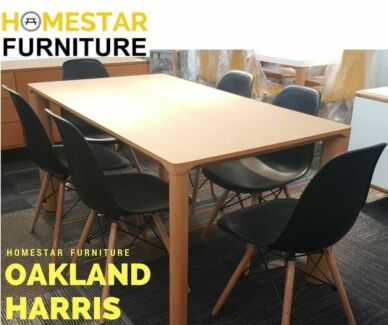 Oakland 7pc Dinning Set with Harris Chairs Black/White PROMO