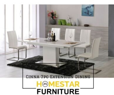 Cinna Extension 7pc Dining Set Black/White Chair Option