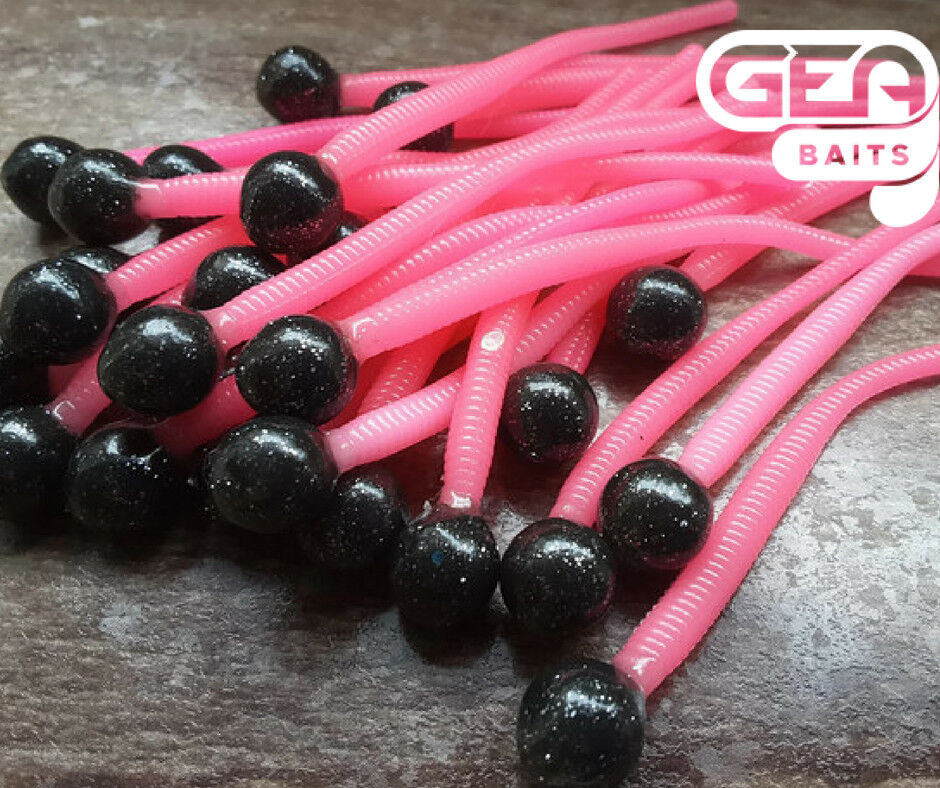 Mouse Tail Pink Black 15 in Pack 8mm//10mm Soft Baits Lure Jelly