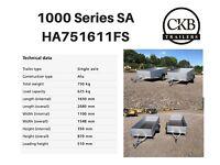 Single Axle unbraked 750kg Humbaur Trailer HA751611 and HA102111