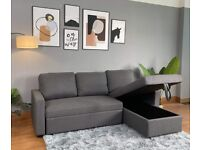 Reegan L Shaped Corner Sofa Bed in Grey, with Hidden Storage & Reversible Chaise