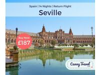 SAVE OVER £70 OFF THE AIRLINE'S PRICE 1 RETURN FLIGHT TO SEVILLE, SPAIN from BRISTOL - £187PP
