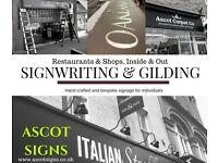 Signwriter Sign Maker, Shop fascias, Creative Typography, Gilding, Chalkboards,