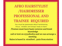 Afro hairdresser needed in stratford center london