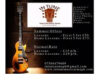 In Tune Guitar Lessons (Acoustic / Electric Guitar / Bass / Theory / Ukulele) Home Tuition Available
