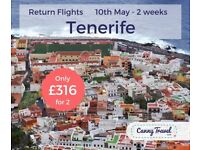 **30% OFF THE AIRLINES PRICE** Cancellation! 2 adult return FLIGHTS TO TENERIFE from EDINBURGH