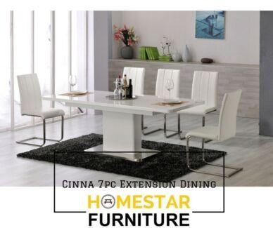 Cinna Extension 7pc Dining Set Black/White Chair Option
