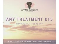 Massage and Beauty Introductory offer ALL TREATMENTS £15