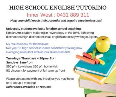 HIGH SCHOOL ENGLISH TUTORING