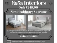 Double bed with 10 inch Mattress and headboard in Glitz silver