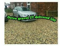 Drive gravel pebbles stone shingle topsoil turf hardcore grit river sharp building sand planings pea