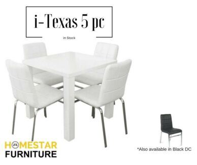 i-Texas 5pc White Table WHITE/BLACK chairs to choose from