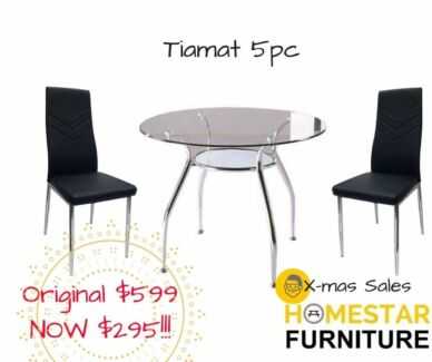 Tiamat 5pc Round Glass Dining Table Setting Orig 599 Now 295