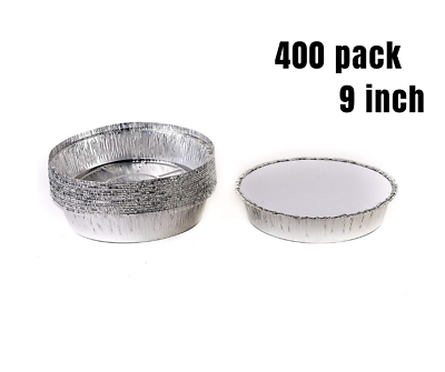 400 Pack 9 Inch Disposable Round Aluminum Foil Take-Out Pans