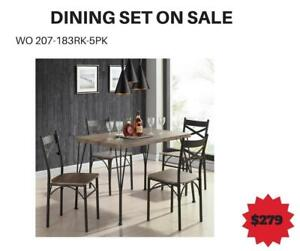 Rustic Oak 3PC Dining Set Sale-WO 7742 (BD-2597)