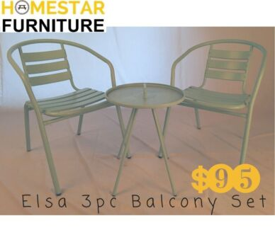Elsa 3pc Brand New Balcony Set Aluminium Steel
