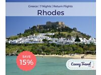 SAVE OVER 40% OFF CURRENT PRICE Cancellation! 2 Return Flight, flying from East Midlands, to Rhodes