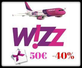 WizzAir gift card 7x50€. Travel Voucher. Fly Ticket. Flight