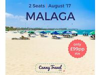 2 Return Flights to Malaga, Spain from Glasgow **BARGAIN** only £99pp