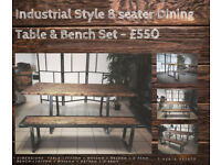 Solid Hand-Made Industrial Style Dining Table and Bench Set - 8 Seater