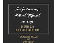Natural lift facial massage/Thai foot massage £20